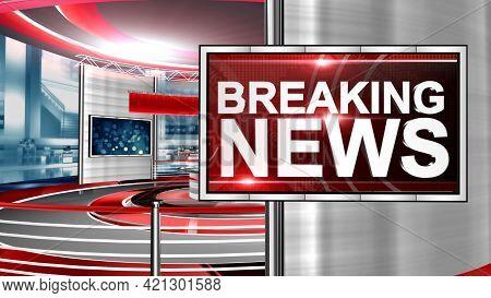 Tv News Background, Breaking News Tv Banner Design. Breaking News Background With Planet. Illustrati