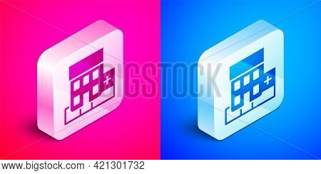 Isometric Medical Hospital Building With Cross Icon Isolated On Pink And Blue Background. Medical Ce