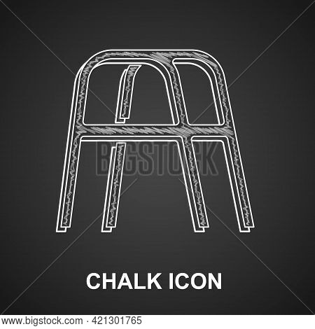 Chalk Walker For Disabled Person Icon Isolated On Black Background. Vector