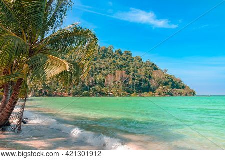 Koh Kood Is A Tropical Island With An Emerald Green Sea And Clear Blue Sky During The Daytime. Koh K