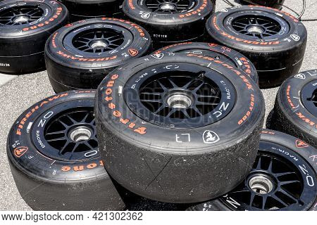 Indianapolis - Circa May 2021: Firestone Firehawk Tires Prepared For Racing. Firestone Tires Are The