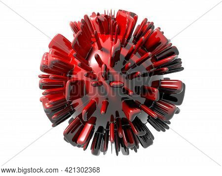 Abstraction Of A Corona Virus On White Background - 3d Rendering Illustration