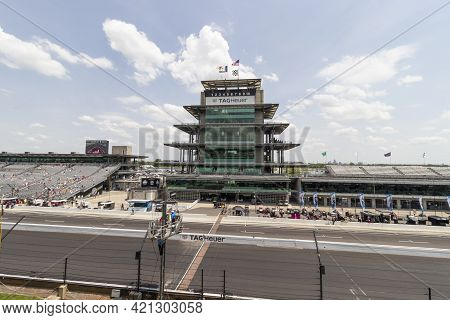 Indianapolis - Circa May 2021: Ims Pagoda At Indianapolis Motor Speedway. The Pagoda Is One Of The M