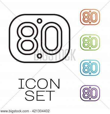 Black Line 80s Retro Icon Isolated On White Background. Eighties Poster. Set Icons Colorful. Vector