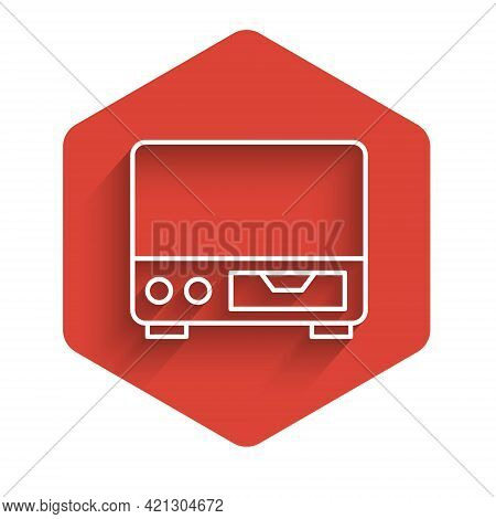 White Line Old Video Cassette Player Icon Isolated With Long Shadow. Old Beautiful Retro Hipster Vid