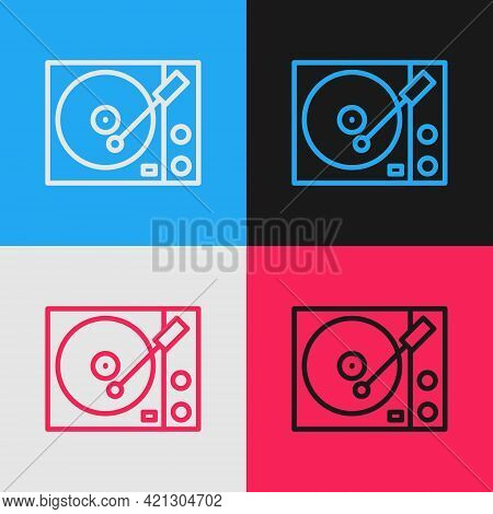 Pop Art Line Vinyl Player With A Vinyl Disk Icon Isolated On Color Background. Vector