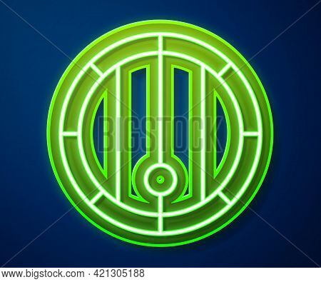 Glowing Neon Line Wooden Barrel Icon Isolated On Blue Background. Alcohol Barrel, Drink Container, W