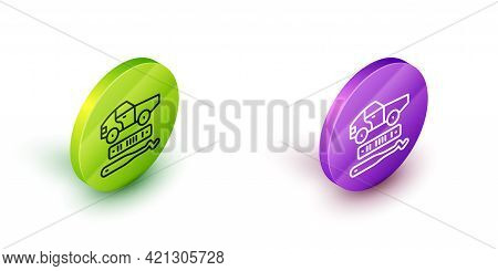 Isometric Line Car Theft Icon Isolated On White Background. Green And Purple Circle Buttons. Vector
