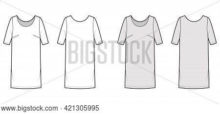 Dress Shift Chemise Technical Fashion Illustration With Medium Sleeves, Oversized Body, Knee Length