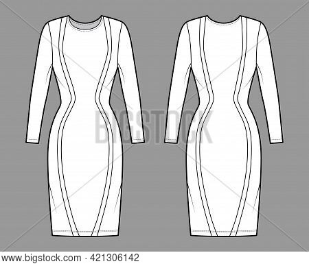 Dress Panel Technical Fashion Illustration With Hourglass Silhouette, Long Sleeves, Fitted Body, Kne