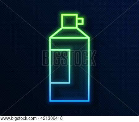 Glowing Neon Line Whipped Cream In An Aerosol Can Icon Isolated On Blue Background. Sweet Dairy Prod