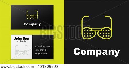 Logotype Line Glasses For The Blind And Visually Impaired Icon Isolated On Black Background. Logo De