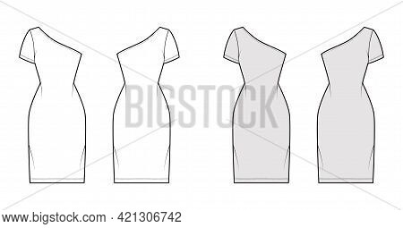 Dress One Shoulder Technical Fashion Illustration With Short Sleeve, Fitted Body, Knee Length Pencil