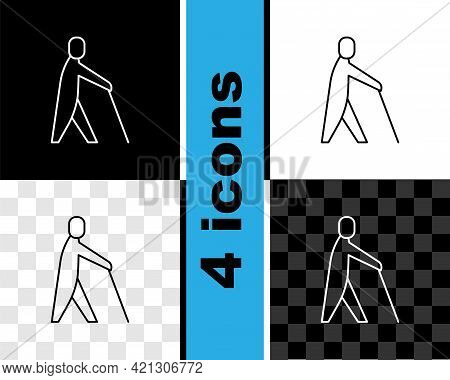 Set Line Blind Human Holding Stick Icon Isolated On Black And White, Transparent Background. Disable