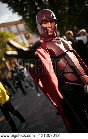Kiev, Ukraine - September 21, 2019: Comic Con Ukraine Festival. Cosplayers In Costumes Superheroes.