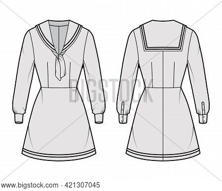 Dress Sailor Technical Fashion Illustration With Long Sleeve With Cuff, Fitted Body, Middy Collar, S