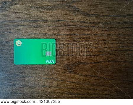Hong Kong - 22 May 2021: Visa Debit Card Issued By Za Bank, The First Virtual Bank In Hong Kong, Wit
