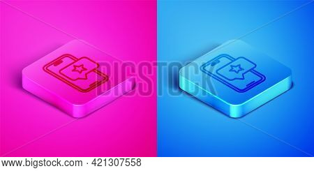 Isometric Line Mobile Phone With Review Rating Icon Isolated On Pink And Blue Background. Concept Of