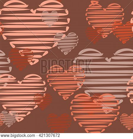 Lots Of Cute Pink Hearts. Seamless Square Background. Funny Love. Flat Style. Vector.