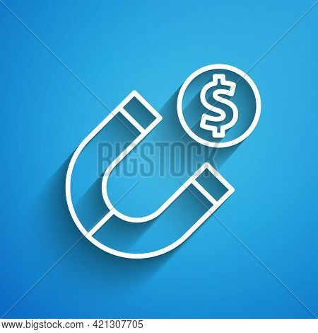White Line Magnet With Money Icon Isolated On Blue Background. Concept Of Attracting Investments. Bi