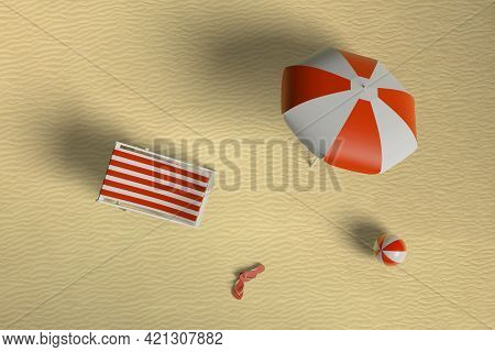 Top View Of Umbrella, Deck Chair, Ball And Pair Of Flip Flops On The Beach. 3d Illustration.