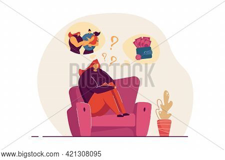 Woman Deciding Between Family And Career. Female Sitting On Sofa Thinking Of Ways To Live Her Life.
