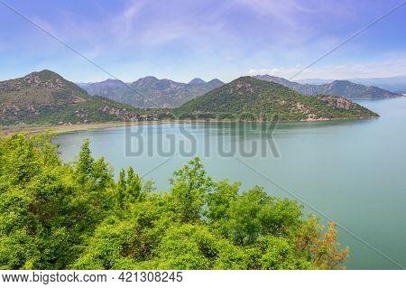 Beautiful Mountain Landscape With Lake. National Park Lake Skadar, Montenegro