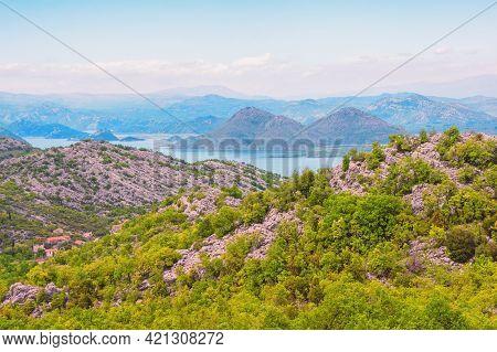 Montenegro. View Of National Park Lake Skadar. Beautiful Mountain Landscape And Coast Of Lake Skadar
