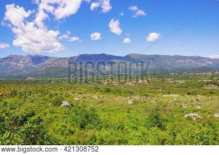 Beautiful Summer Landscape. Montenegro, Ulcinj Municipality, View Of Meadow Near Old Town Shas ( Dea