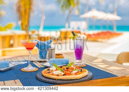Luxury Resort Hotel Poolside, Outdoor Restaurant On The Beach, Ocean And Sky, Tropical Island Cafe,