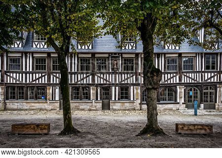 Rouen, France, Oct 2020, View Of The Courtyard Of The Aitre Saint Maclou