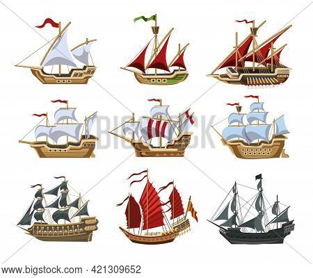 Pirate Boats And Old Different Wooden Ships With Fluttering Flags Vector Set Old Shipping Sails Trad