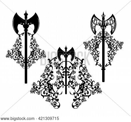Medieval Style Fantasy Dwarf  Battle Axe And Rose Flowers Design - Vector Heraldic Weapon Emblem Set
