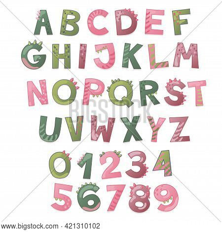Cartoon Cute Dinosaur Alphabet. Dino Font With Letters And Numbers. Children Vector Illustration For