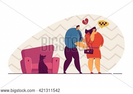 Couple Having Argument Vector Illustration. Woman Going Away, Calling Taxi. Man Is Heartbroken, Tryi