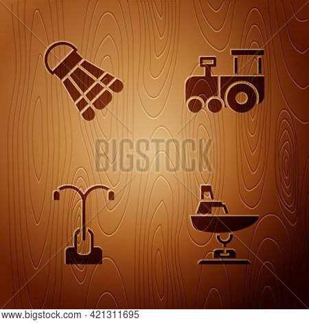 Set Swing Boat, Badminton Shuttlecock, Street Light And Toy Train On Wooden Background. Vector