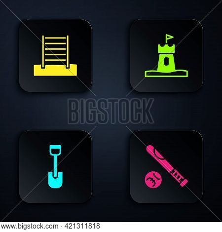Set Baseball Bat With Ball, Swedish Wall, Shovel Toy And Sand Tower. Black Square Button. Vector