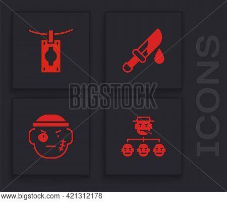 Set Mafia, Money Laundering, Bloody Knife And Bandit Icon. Vector