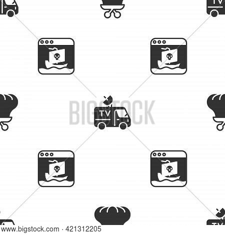 Set Wallet, Tv News Car And Internet Piracy On Seamless Pattern. Vector