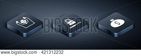 Set Isometric Thief Surrendering Hands Up, Money Bag And Lock Picks For Lock Picking Icon. Vector
