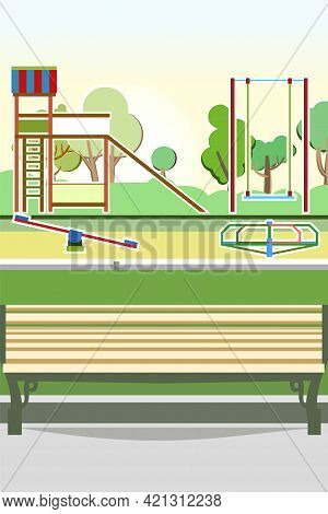 Bench And Playground In The Park. Swings, Slides And Carousels. Flat Cartoon Style Illustration. A P