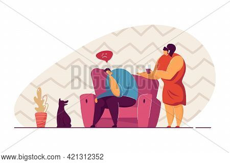 Woman Offering Tea To Depressed Man. Female Cartoon Character Trying To Cheer Up Male Friend Or Husb