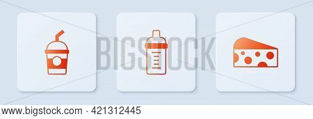 Set Baby Milk In A Bottle, Milkshake And Cheese. White Square Button. Vector