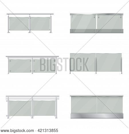 Collection Realistic Glass Balustrades Vector Illustration. Set Of Transparent Balcony Rails