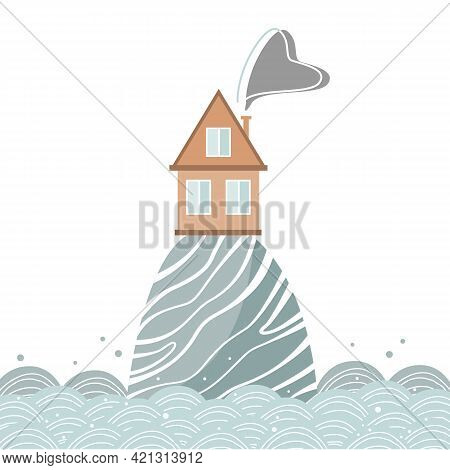 Stylish Card With Cartoon House On The Hill In The Sea, Scandinavian Style. Vector Illustration Isol