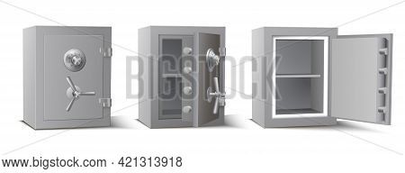 Collection Metal Safe With Opened Closed Door Vector Illustration Armored Box With Secret Code Lock