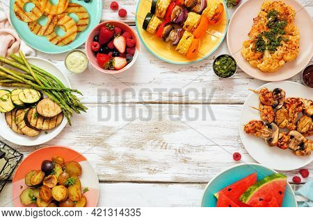 Healthy Plant Based Summer Bbq Arch Frame. Overhead View On A White Wood Background. Fruit, Grilled