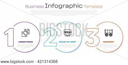 Set Line Game Dice, Pointer To Wild West And Wild Covered Wagon. Business Infographic Template. Vect