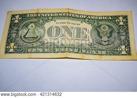 Close Up Of One Dollar Isolate On White Background, American One Dollar Close Up, Portrait Of The La