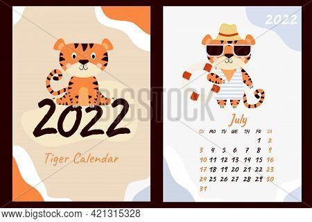 Set July 2022 Calendar And Cover. Cute Tiger Cub In Sunglasses, Striped Swimsuit, Beach Hat And Life